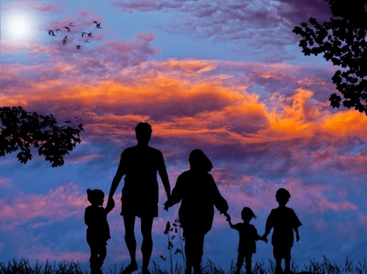 Family in sunset