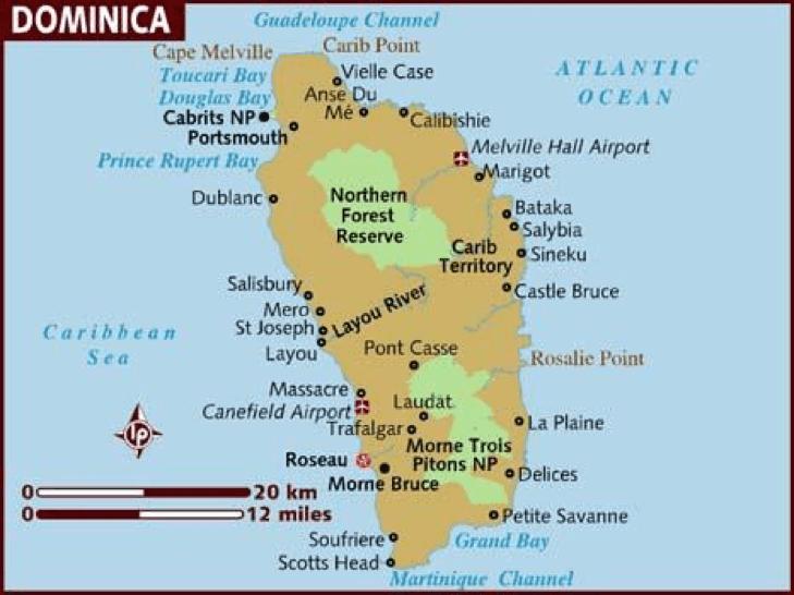 Dominika xəritəsi