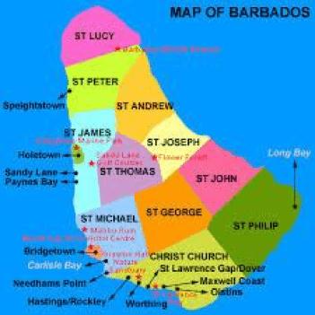 Barbadosen mapa