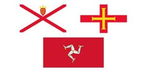 Jersey and Guernsey & The Isle of Man Flags